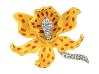 Kenneth Jay Lane Yellow/Brown Spots Orchid Pin