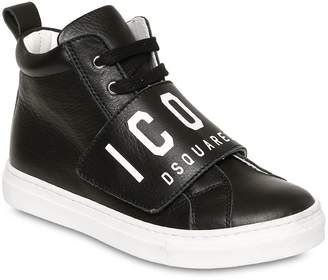 DSQUARED2 Icon Print Leather High Top Sneakers