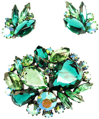 One Kings Lane Vintage 1960s Juliana Green Crystal Brooch Set - Neil Zevnik