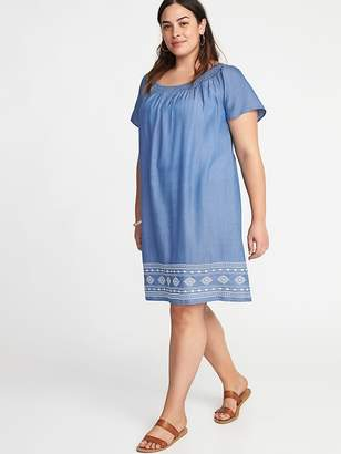 Old Navy Smocked-Neck Embroidered-Hem Plus-Size Shift Dress