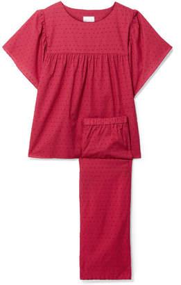 Three J NYC Kelly Swiss-dot Cotton Pajama Set - Brick