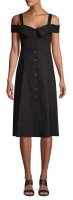 A.L.C. Hudson Cold-Shoulder Button Flare Dress