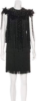 Prada Fringe-Trimmed Embellished Dress