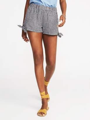 Old Navy Mid-Rise Tie-Hem Soft Gingham Shorts For Women - 3.5 inch inseam