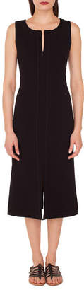 Akris Sleeveless Round-Neck A-Line Stretch-Wool Midi Dress with Topstitching