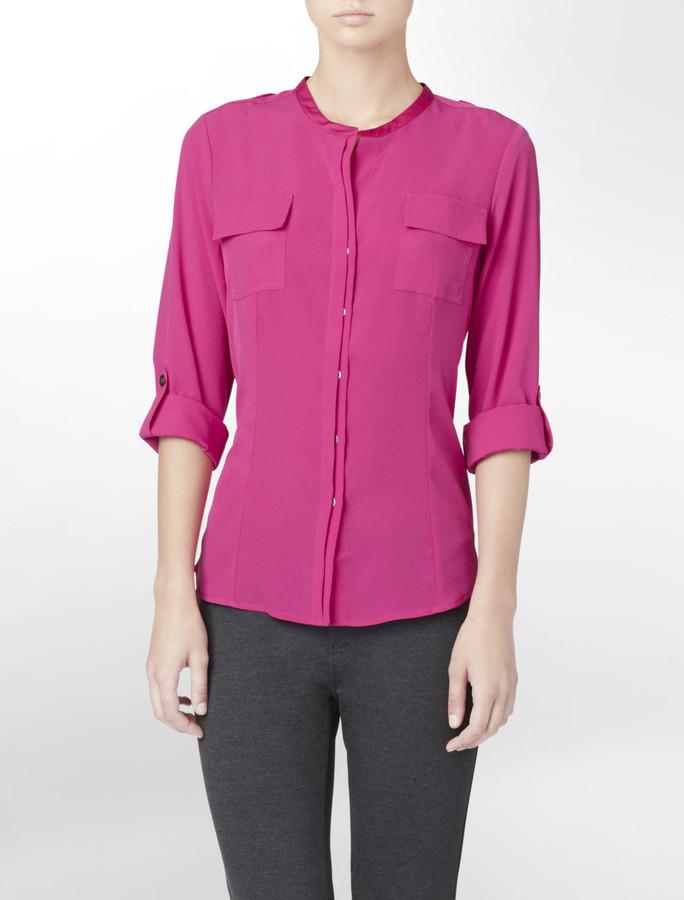 Calvin Klein Pink Mandarin Collar Blouse