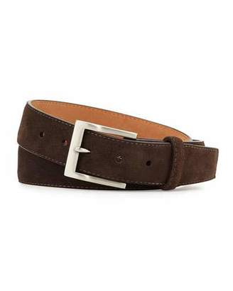W.KLEINBERG W. Kleinberg Suede Belt, Dark Brown