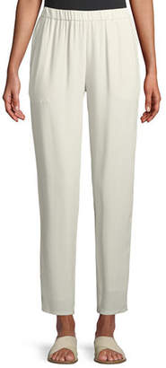 Eileen Fisher Silk Georgette Crepe Slouchy Ankle Pants, Petite
