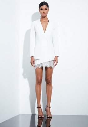 Missguided White Lace Hem Blazer Dress