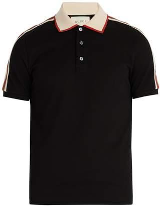 Gucci Logo-sleeve cotton-piqué polo shirt