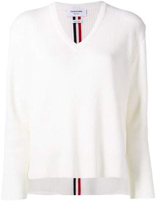 Thom Browne waffle knit V-neck sweater