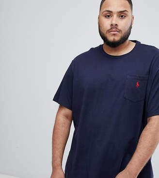 Polo Ralph Lauren Big & Tall player logo crew neck t-shirt in navy
