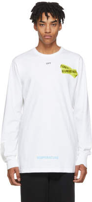 Off-White Off White White Long Sleeve Firetape T-Shirt