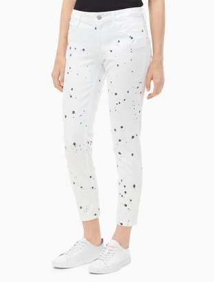 Calvin Klein skinny paint splatter slub twill ankle jeans