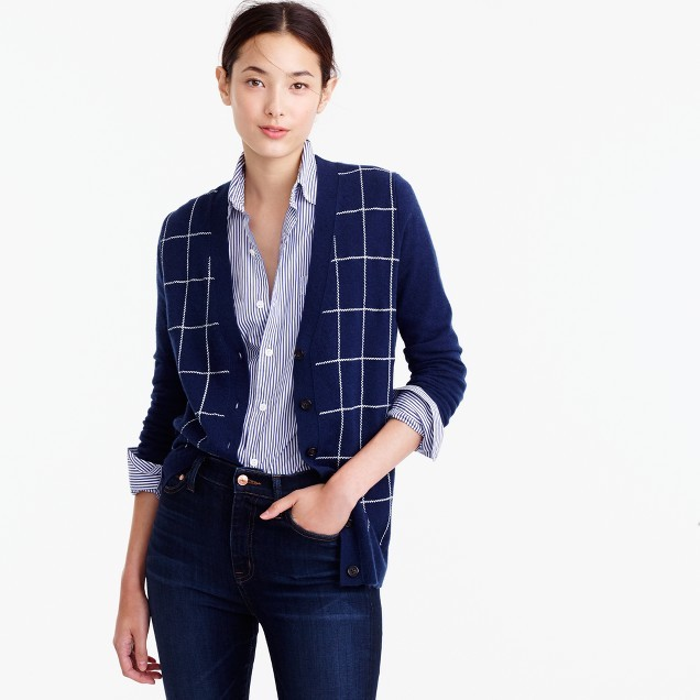 J.Crew Classic V-neck cardigan sweater in windowpane print
