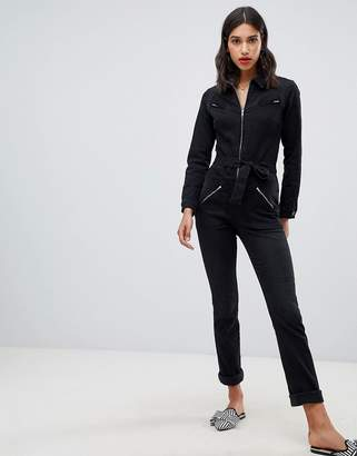 BA&SH Willow Jumpsuit in Washed Denim