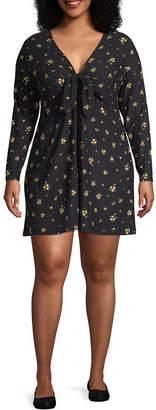 Arizona Long Sleeve Floral Bodycon Dress-Juniors