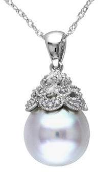 Sonatina 14K White Gold, 10-10.5mm Round White Pearl & Diamond Pendant Necklace