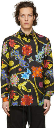 Versace Multicolor Floral Silk Shirt