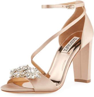 Badgley Mischka Vanda Embellished Satin Sandals