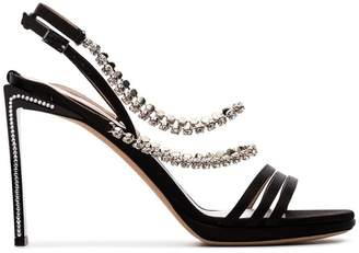 Ballin Alchimia Di black Mya 100 crystal embellished silk satin sandals