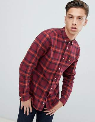 Lyle & Scott buttondown windowpane check shirt in burgundy