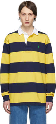 Polo Ralph Lauren Navy and Yellow Striped The Iconic Rugby Polo