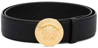 Versace black medusa leather belt