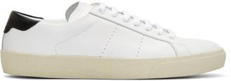 Saint Laurent White Court Classic Sneakers $595 thestylecure.com