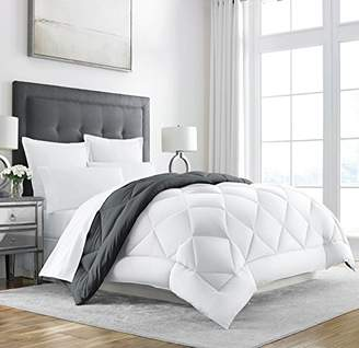 +Hotel by K-bros&Co Sleep Restoration Goose Down Alternative Comforter - Reversible - All Season Hotel Quality Luxury Hypoallergenic Comforter -King/Cal King - Grey/White