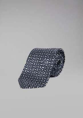 Giorgio Armani Pure Silk Tie With Geometric Pattern