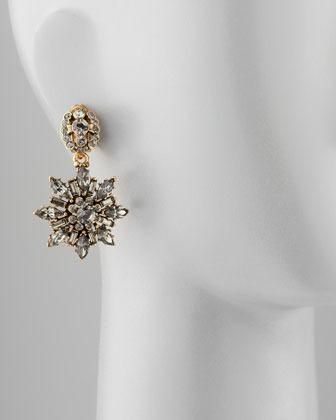 Oscar de la Renta Black Crystal Starburst Clip Earrings