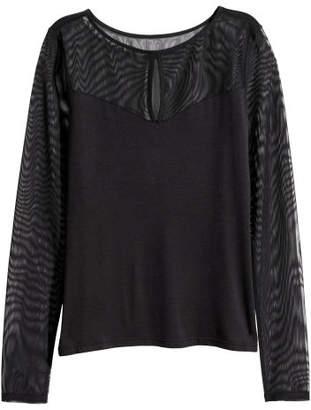 H&M Long-sleeved Top - Black