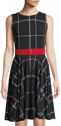 Gabby Skye Sleeveless Plaid Belted Dress