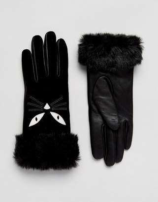 Alice Hannah Cat Applique Gloves