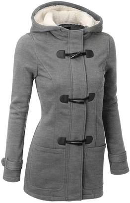 FANTIGO Womens Fashion Wool Blended Classic Hooded Pea Coat Jacket XXL
