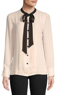Anne Klein Tied Tuxedo-Pleat Blouse
