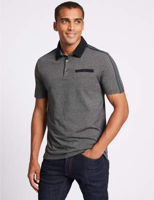 Marks and Spencer Slim Fit Pure Cotton Textured Polo Shirt