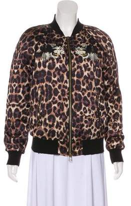 Pam & Gela Animal Print Bomber Jacket