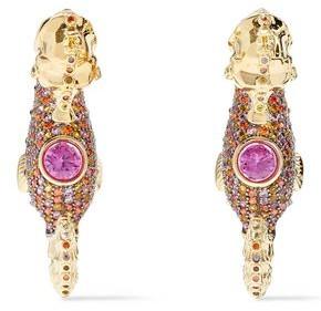 Noir Tasman Seahorse 14-karat Gold-plated Crystal Earrings