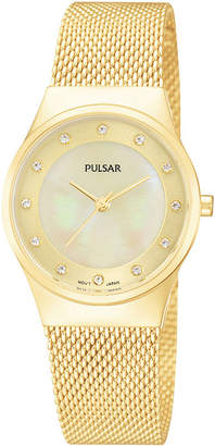Pulsar Womens Gold-Tone Crystal-Accent Mesh Watch PH8056