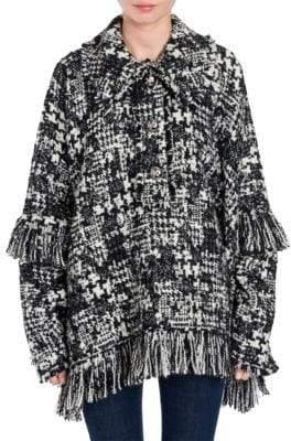 Dolce & Gabbana Tweed Fringe Poncho