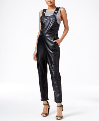 RACHEL Rachel Roy Faux-Leather Overalls, Only at Macy's $159 thestylecure.com