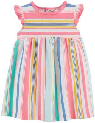 Carter's Baby Girl Multi-Colored Pastel Striped Flutter Dress