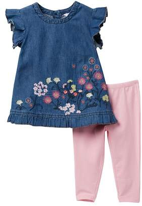 Bebe Embroidered Denim Dress & Leggings (Baby Girls)