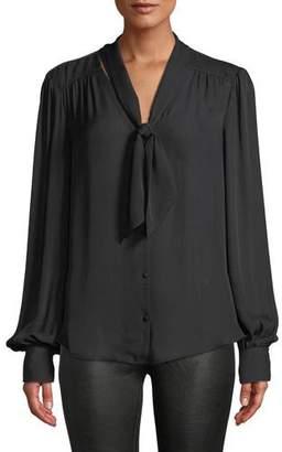 Paige Cleobelle Silk Tie-Neck Button-Down Blouse