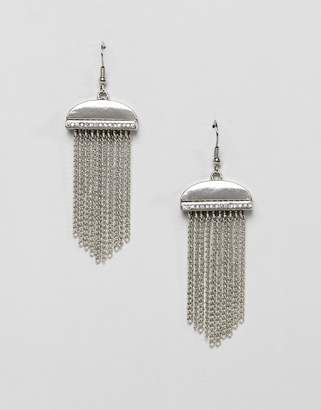 French Connection rhinestone tassle chain earrings