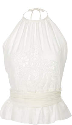 Lila Eugenie Pleated Peplum Cotton And Silk-Voile Halter Top