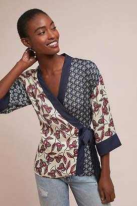 Meadow Rue Patchwork Kimono Wrap Blouse