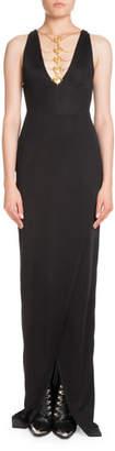 Balmain Sleeveless Coin-Neck Front-Slit Evening Gown